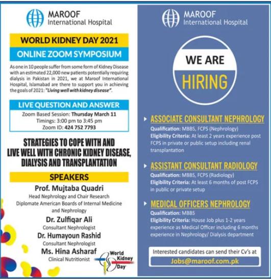 Maroof International Hospital Jobs 2021 For Islamabad