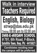 Dar e Arqam School Walk In Interviews