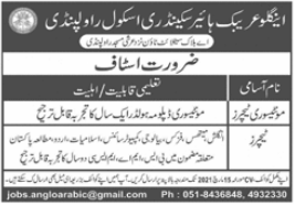 Anglo Arabic Public Secondary School Jobs 2021 in Rawalpindi