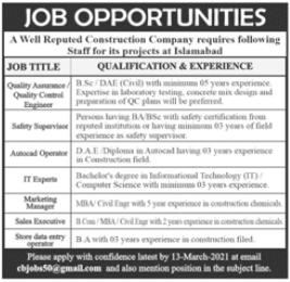 Construction Company Jobs 2021 in Islamabad