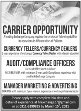 Exchange Company Jobs 2021 For Management Staff
