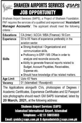Shaheen Airport Services SAPS Job 2021 in Islamabad