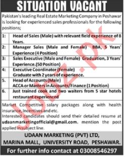 Udaan Marketing Peshawar Jobs 2021 for Head of Sales