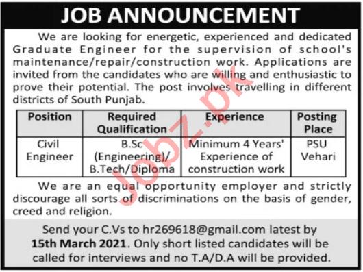 Civil Engineer & Engineer Jobs 2021 in Multan