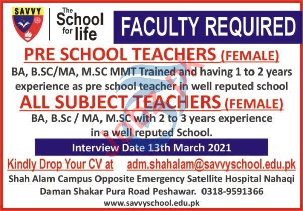 The Savvy School Peshawar Jobs 2021 for Pre School Teachers