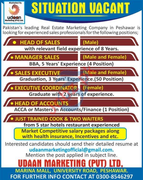 Udaan Marketing Peshawar Jobs for Manager & Sales Executive