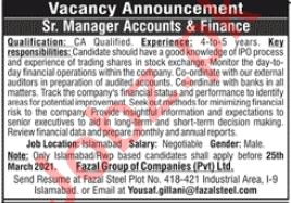 Senior Manager Accounts & Finance Jobs 2021 in Islamabad