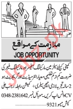 Marketing Officer & Marketing Manager Jobs 2021 in Karachi