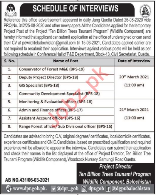 Ten Billion Trees Tsunami Programme TBTTP Balochistan Jobs
