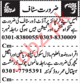 Outdoor Sales Officer & Teacher Jobs 2021 in Quetta