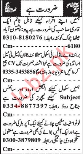 Photostat Machine Operator & Quran Teacher Jobs 2021