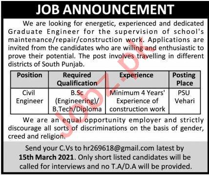 Engineer & Civil Engineer Jobs 2021 in Vehari