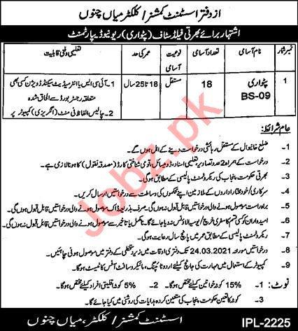 Assistant Commissioner AC Mian Channu Jobs 2021 for Patwari