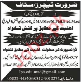 Islamabad Public School IPS Muzaffarabad Jobs 2021 Teachers
