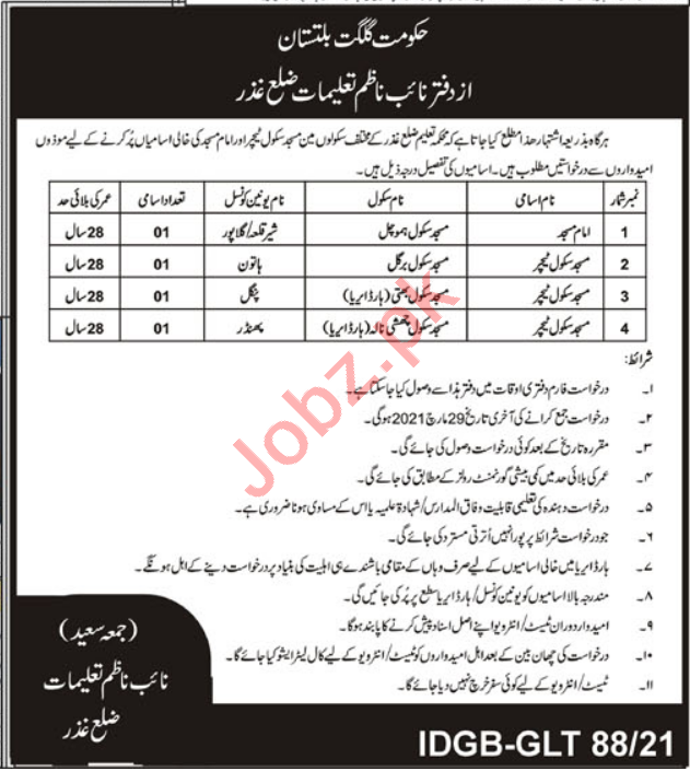 Education Department Ghizar Jobs 2021 Masjid School Teacher