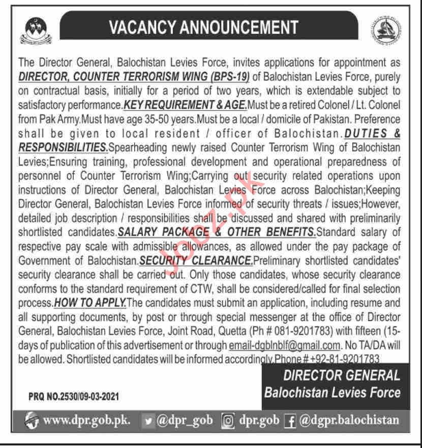Director Counter Terrorism Wing Jobs 2021 in Levies Force
