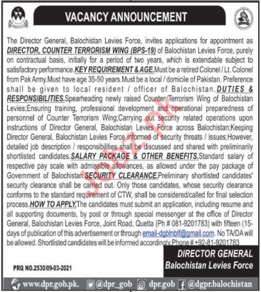Balochistan Levies Force Jobs 2021 for Director