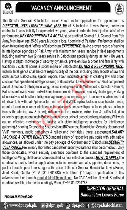 Balochistan Levies Force Jobs for Director Intelligence Wing