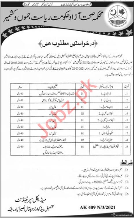 Tehsil Headquarter Hospital THQ Naseerabad Muzaffarabad Jobs