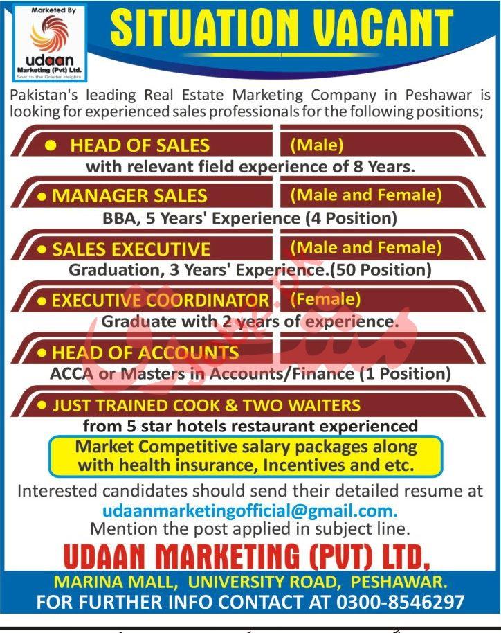 Udaan Marketing Peshawar Jobs Head of Accounts & Coordinator
