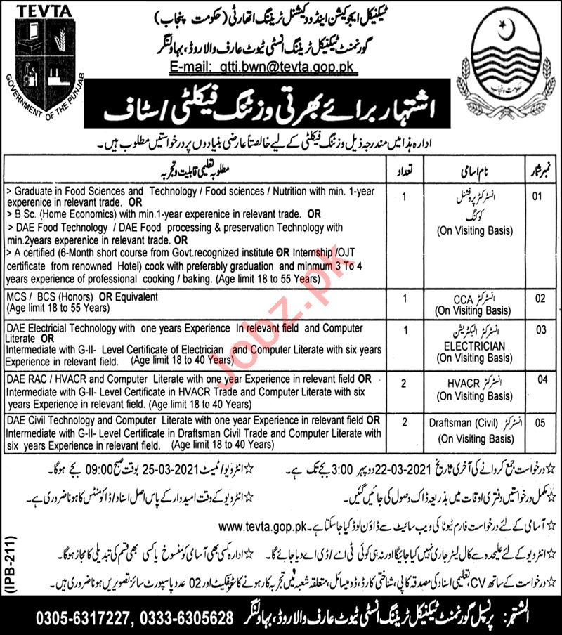 Govt Technical Training Institute GTTI Arifwala Jobs 2021