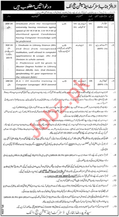 Asst Librarian Jobs 2021 in District & Session Court Attock