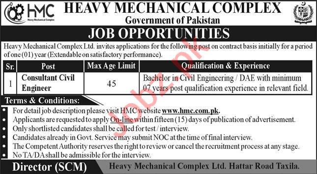 Heavy Mechanical Complex HMC Jobs 2021 for Civil Engineer