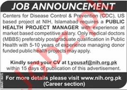 National Institute of Health NIH Islamabad Jobs for Manager