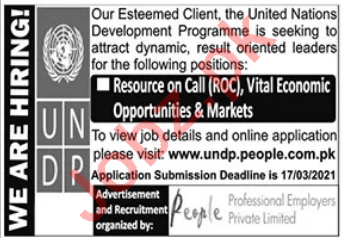 UNDP Jobs 2021 for Resource on Call Consultant