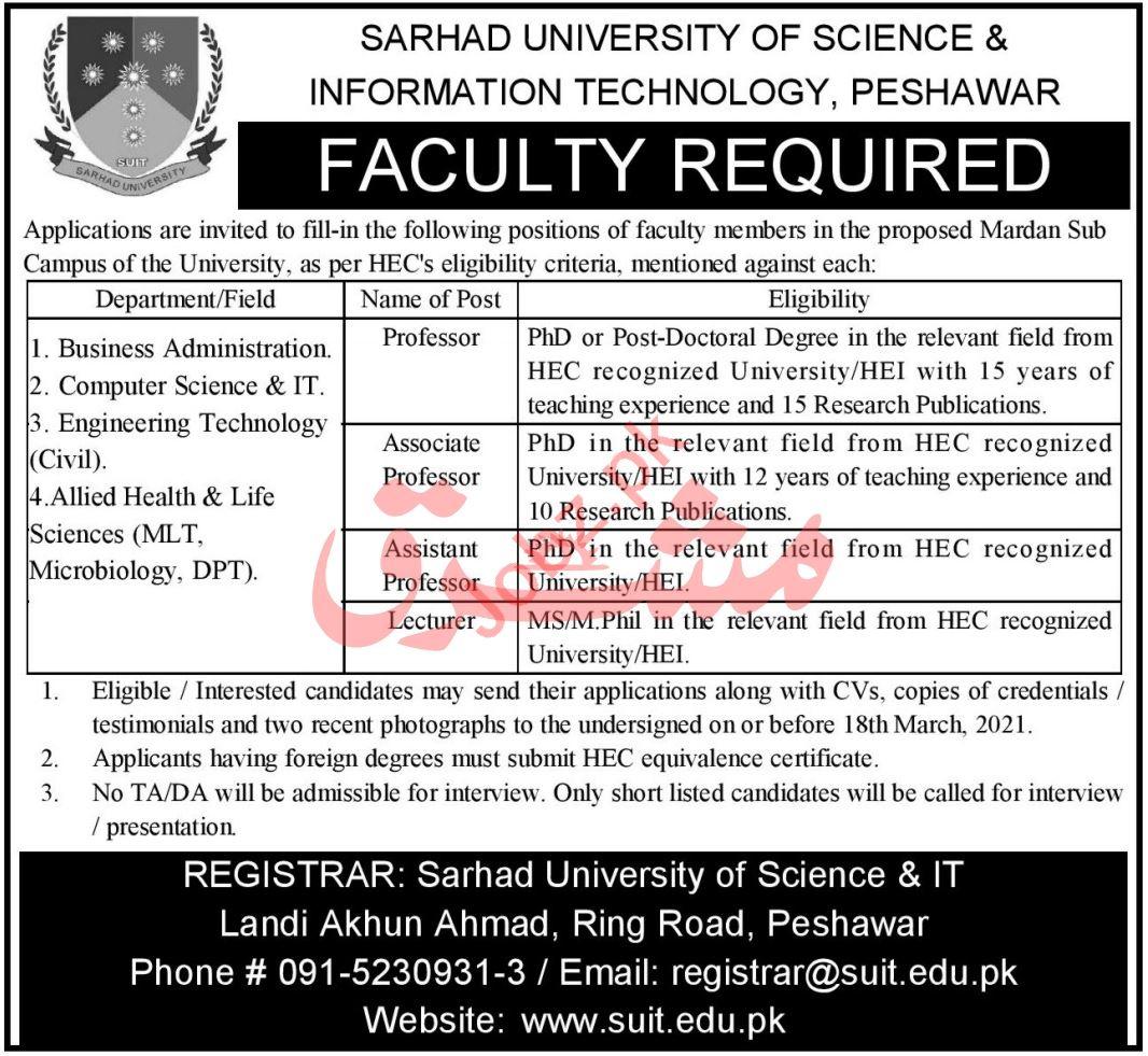 Sarhad University of Science & IT Peshawar Faculty Jobs 2021