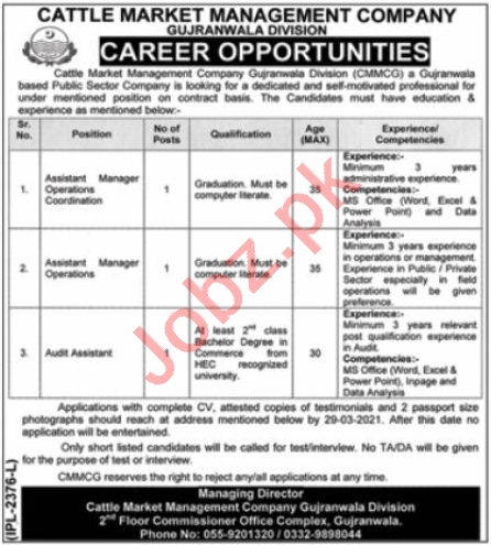 Cattle Market Management Company Gujranwala Division Jobs