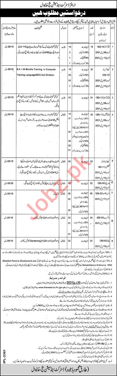 District & Session Court Khanewal Jobs 2021 for Stenographer