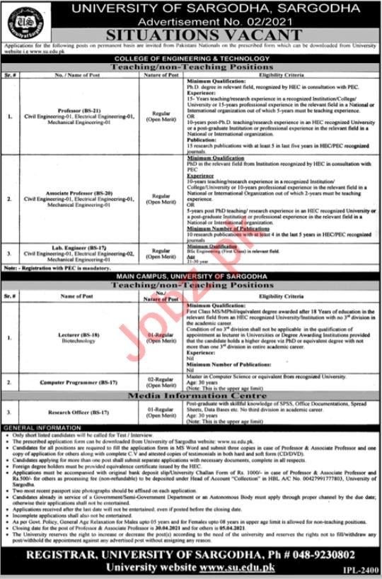 University of Sargodha UOS Jobs 2021 for Professors