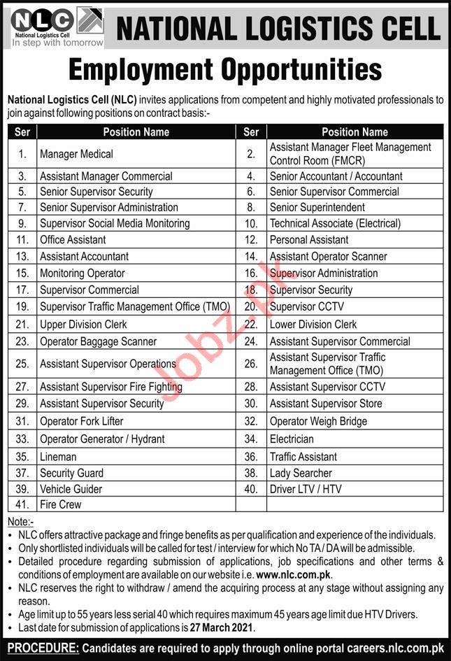 National Logistics Cell NLC Rawalpindi Jobs 2021
