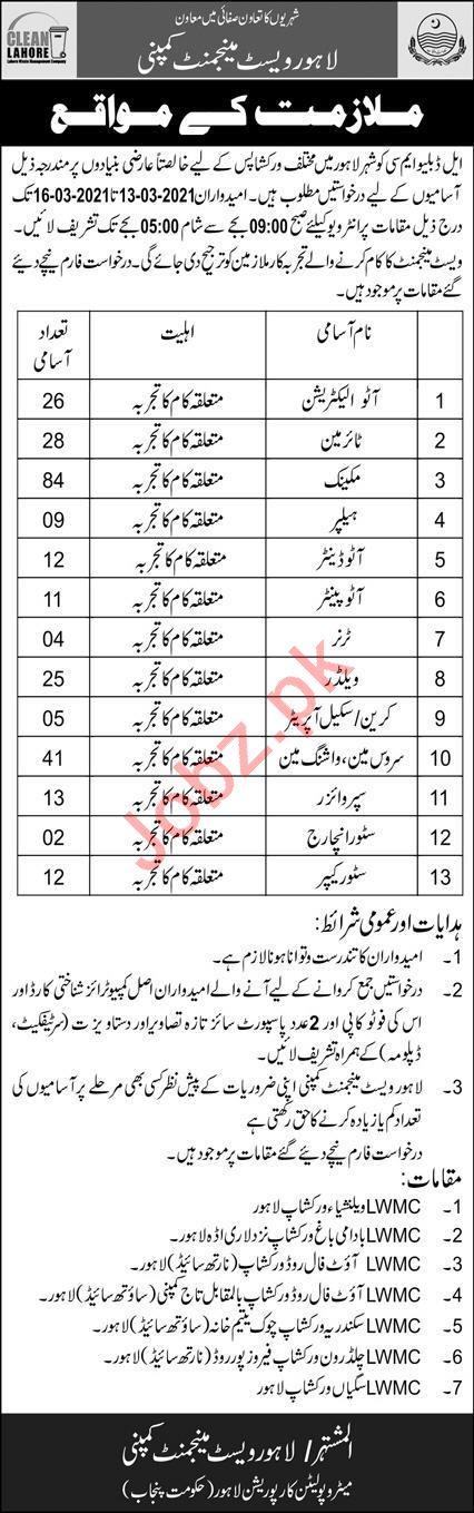 Lahore Waste Management Company LWMC MC Lahore Jobs 2021