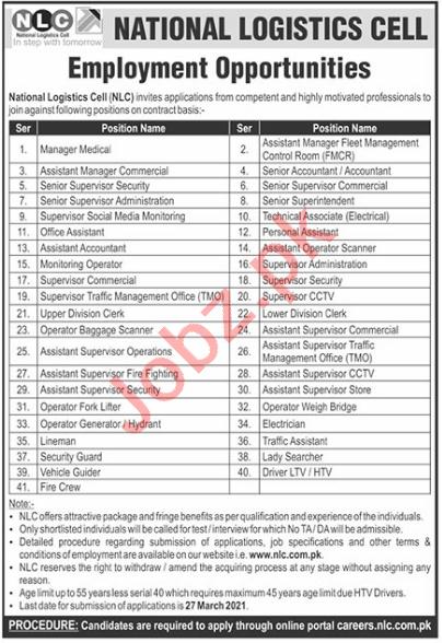 National Logistics Cell NLC Jobs 2021 for Supervisors