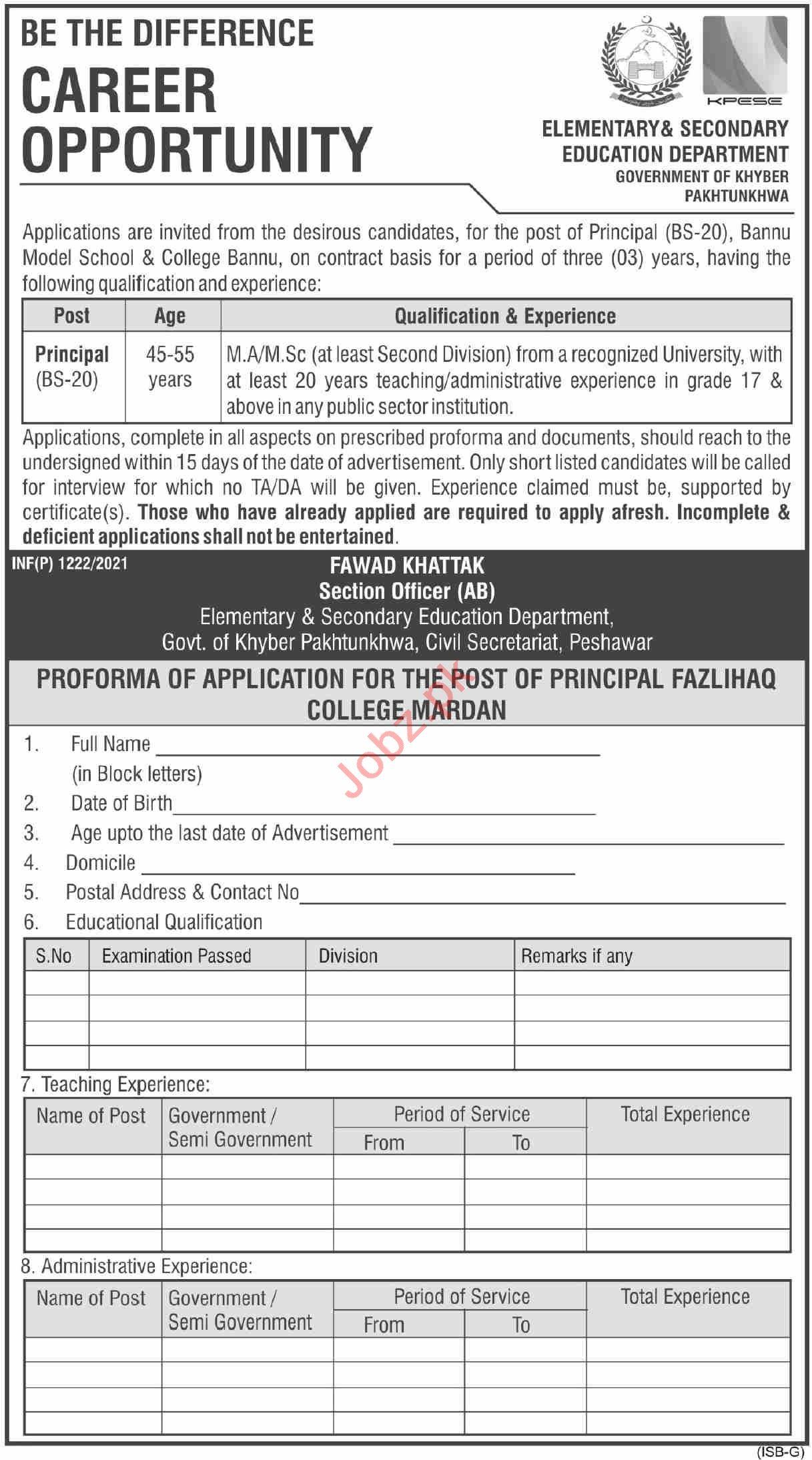 Bannu Model School & College Jobs 2021 for Principal