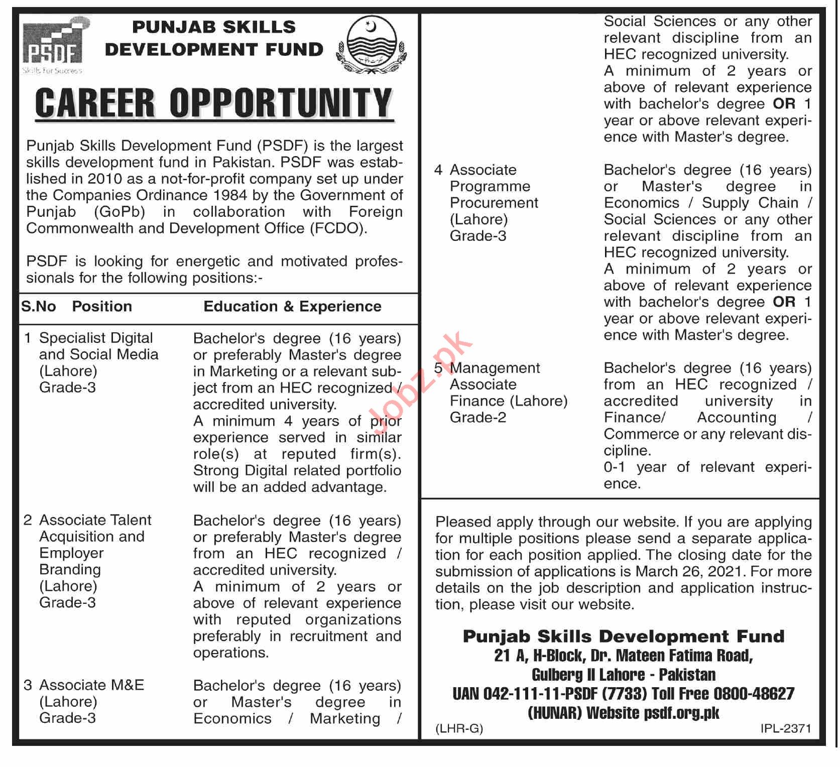 Punjab Skills Development Fund PSDF Lahore Jobs 2021