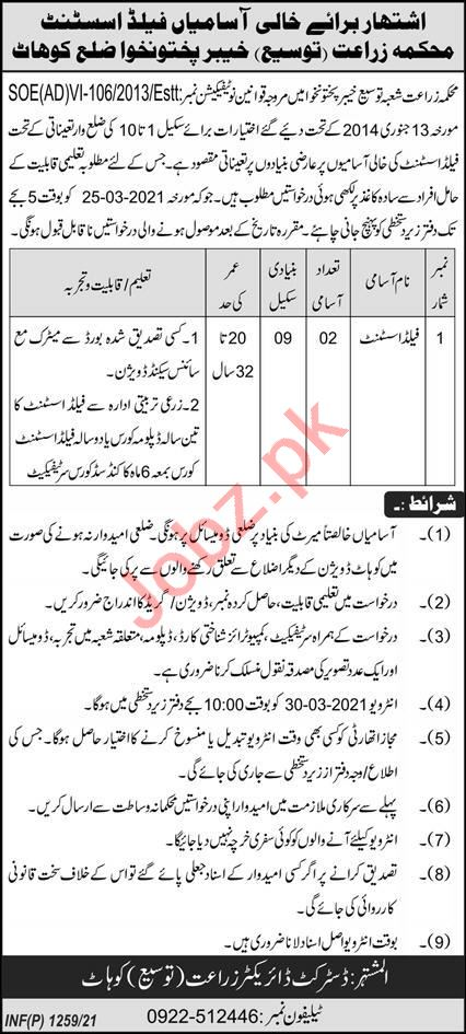 Agricultural Extension Department Kohat Jobs 2021