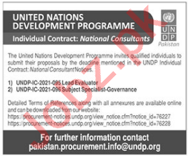 UNDP Jobs 2021 for Lead Evaluator & Subject Specialist