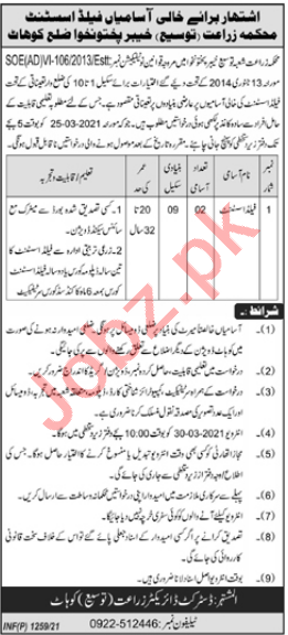 Agricultural Extension Department Kohat Jobs Field Assistant