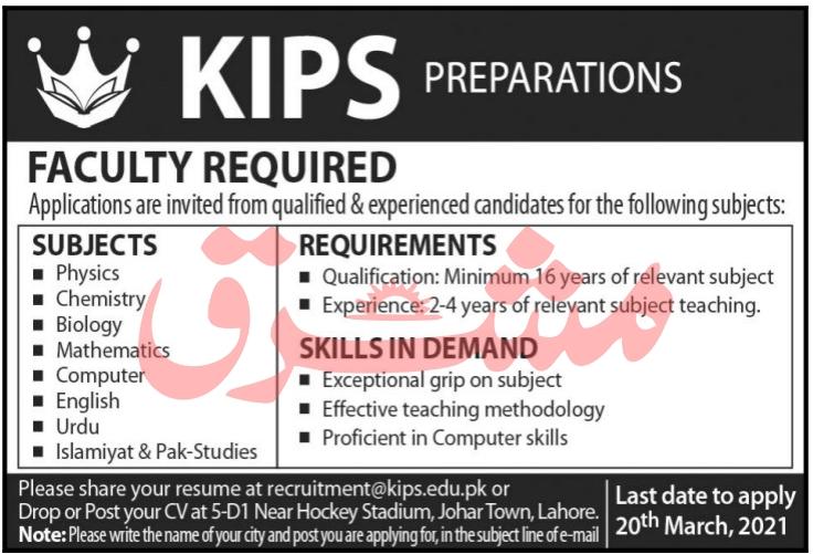 KIPS Lahore Jobs 2021