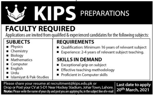KIPS Education System Faculty Jobs 2021 in Lahore
