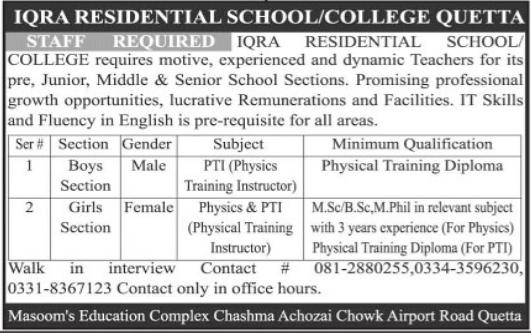 Iqra Residential School & College Jobs 2021 in Quetta