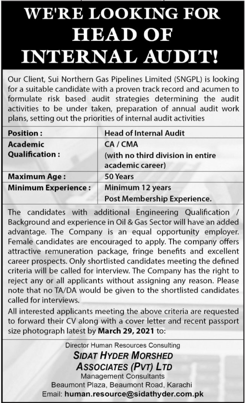 Sui Northern Gas Pipelines Limited SNGPL Job 2021