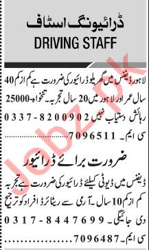 Jang Sunday Classified Ads 14 March 2021 for Driving Staff