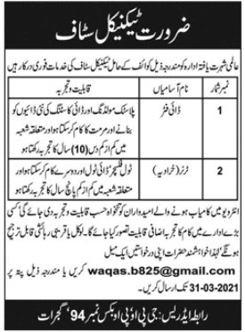 Technical Staff Jobs 2021 in Gujrat