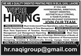 Printing Press Jobs 2021 in Lahore
