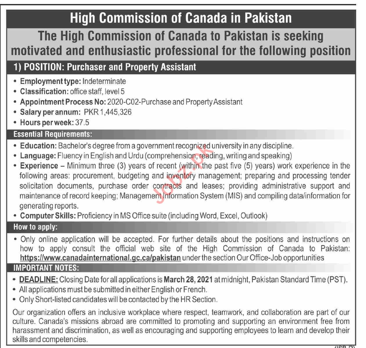 High Commission of Canada in Pakistan Jobs 2021