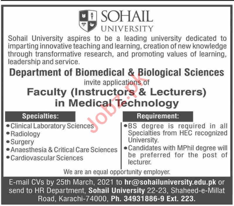 Sohail University Karachi Jobs 2021 Lecturers & Instructors